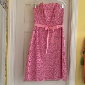 Lilly Pulitzer Pink Lace Strapless Dress